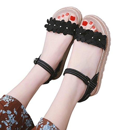 Fashion Boden Flache Schwarz Große Damen Ferse Solid Color Sandalen Blume Förderung Stil Dicke Rom SANFASHION aHqwC