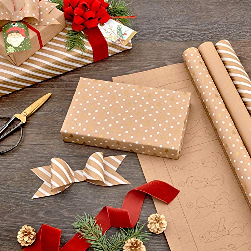 Hallmark Holiday Wrapping Paper with DIY Bow Templates on Reverse (3 Rolls: 120 sq. ft. ttl) Kraft and Gold Christmas…