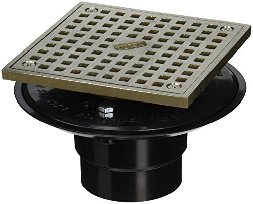 Zurn FD2254-AB2-S5 ABS Square Shower Drain with 5' Square Nickel Head Assembly, 2'