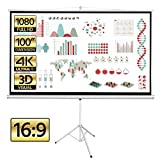 Yaheetech 100 inch Diagonal Portable Indoor Outdoor Projector Screen with Stand 16:9 Projection Screen w/ 87x49 inch Foldable Stand White