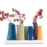 Chive Pooley 2, Unique Rectangle Ceramic Flower Vase, Small Bud Vase, Decorative Floral Vase for Home Decor, Table Top Centerpieces, Arranging Bouquets, Set of 8 Tubes Connected (Emerald Green Blue)