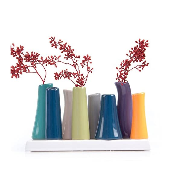Chive - Pooley 2, Unique Rectangle Ceramic Flower Vase, Small Bud Vase, Decorative Floral Vase for Home Decor, Table Top Centerpieces, Arranging Bouquets, Set of 8 Tubes Connected (Emerald Green Blue) - MODERN MINIMALISTIC FLORAL VASE: Chive offers another outstanding, unique and original way to decorate your house with flowers. Use it on your desk, in your living room, or on a window sill to add a pop of color and liven up a dull space. Works brilliantly as a small indoor low laying centerpiece for your dining room table. MULTI PURPOSE FLORAL ARRANGING: This is a perfect flower vase to use for artificial flower arranging and for wedding centerpieces. SIMPLE ELEGANT DESIGN: This is a Set of 8 tubes attached to the base. You can fill all 8 tubes and pop your favorite fresh cut flower in each. The Pooley 2 vase looks gorgeous with roses and tulips. - vases, kitchen-dining-room-decor, kitchen-dining-room - 51k6JzLY8pL. SS570  -