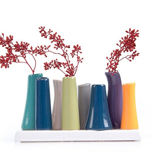 Chive - Pooley 2, Ceramic Flower Vase, 8-Tube Shape, Emerald Green with Orange and Navy Assortment