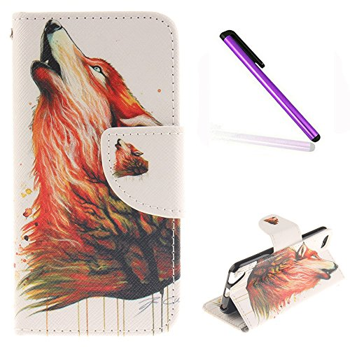 iPod Touch 5 Case iPod Touch 6 Case EMAXELER Wallet Cover [Kickstand Flip Case][Credit Cards Slot][Cash Pockets] PU Leather Flip Folio Wallet Case with Stand For iPod Touch 5/6 - Color Wolf (Ipod Touch 5 Case Generic)