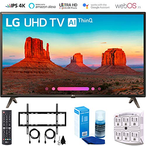 LG 49UK6300 49″ UK6300 Smart 4K UHD TV (2018) with Wall Mount + Cleaning Kit (49UK6300PUE)