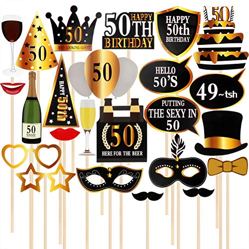 50th Birthday Photo Booth Props, Party Decoration Supplies Black and Gold Party Favors Selfie Props,Set of 24