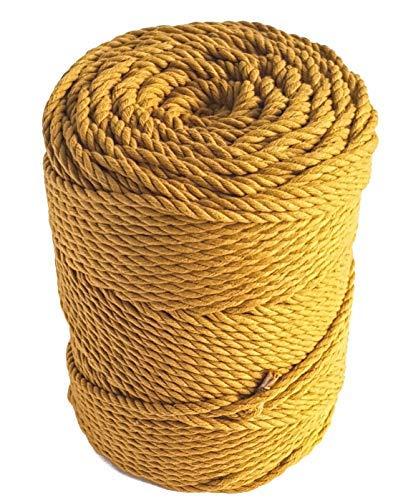 (Macrame rope 4mm MUSTARD cotton rope 460 feet mustard macrame cord 153 yard cotton rope for macrame projects - Handmade Decorations Macrame Wall Hangings Plant Hanger Crocheting Bohemia DIY)