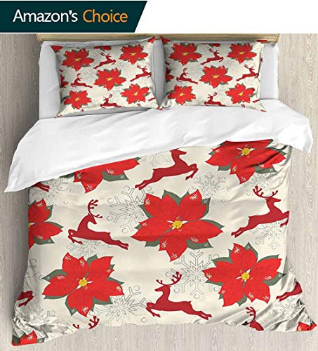 Christmas Full Queen Duvet Cover Sets,Vibrant Poinsettia Flowers with Galloping Reindeers and Snowflake Figures Duvet Cover with Pillowcases Child Bedding Sets, 87
