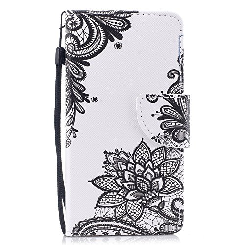 EUWLY Samsung Galaxy A5 2017 Leather Wallet Case,Ultra Thin Colorful Butterfly Flower Tree Animal Embossed Pu Leather Case Cover with Hand Strap for Samsung Galaxy A5 2017 + 1 x Stylus Pen - Black and Black Flower