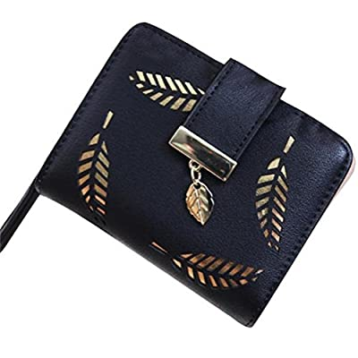 Winhurn Women Golden Leaf Design Bifold Wallet PU Leather Clutch Card Holder Purse