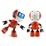 FALAIDUO 12 Wheels Electric Robot Dumpers Car Shape Stunt Toy Novelty Gift For Kids (Orange)