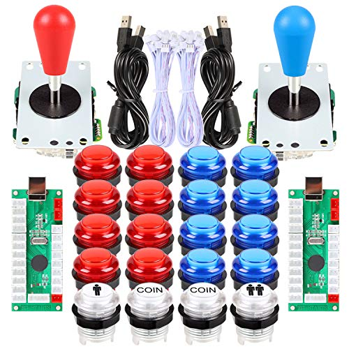 Avisiri 2 Player led Arcade Buttons and Joystick DIY kit 2X joysticks + 20x led Arcade Buttons Game Controller kit for Windows and MAME and Raspberry Pi (Red-Blue-Kits)