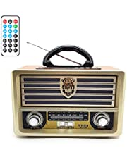 Meier M-113BT Portable Antique Radio AM/FM/SW, USB/SD/TF Card Slot, AUX, Bluetooth Remote Control. Play MP3 files. Use universal Power Supply, built-in rechargeable battery& AA batteries. - Light