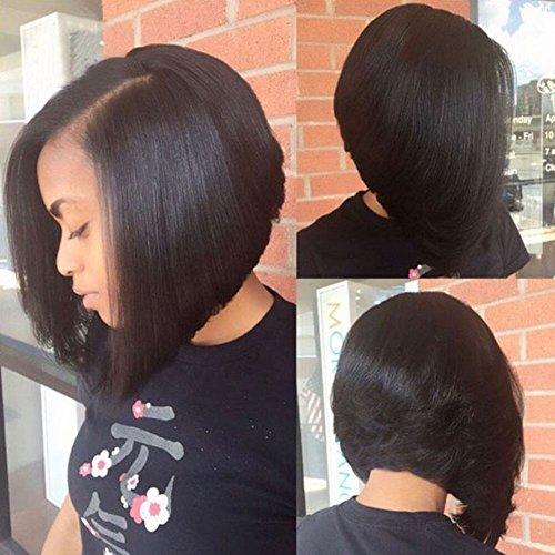 Human Hair U Part Bob Wigs for Black Women Brazilian Straight Short Bob U Part Wig Glueless Natural Color 1X4 Inches Left Opening(10 inch-130% density)