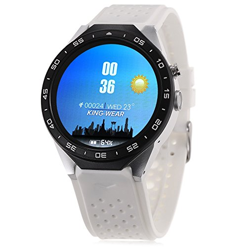 GBlife KW88 3G Smartwatch Phone with GPS WiFi Pedometer Heart Rate Monitor 5.0MP RC Camera for Android 5.1 (White)