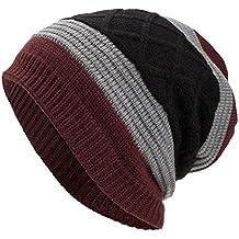 WUAI Deals,Women Men Winter Knit Warm Flexfit Hat Stripe Ski Baggy Slouchy Beanie Fashion Skull Cap