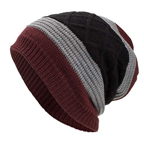 WUAI Clearance Deals,Women Men Winter Knit Warm Flexfit Hat Stripe Ski Baggy Slouchy Beanie Fashion Skull Cap (Wine) -