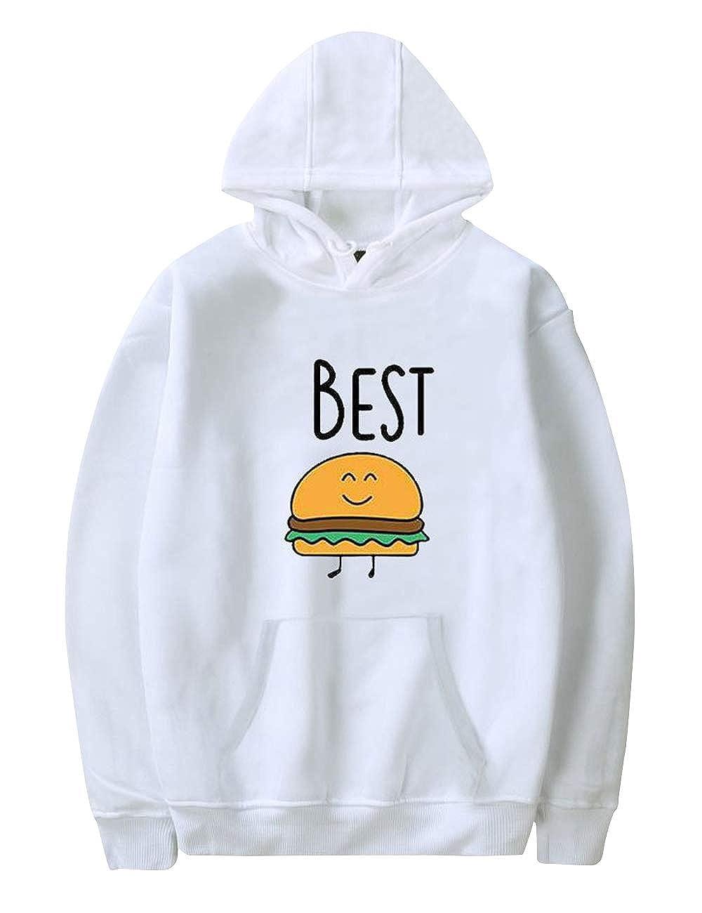 Best Friends Pullover f/ür Zwei M/ädchen Damen Beste Freunde Pullover Pommes und Burger Sister BFF Pulli Hoodie Kapuzenpullover Sweatshirt Herbstpullover 1 St/ück