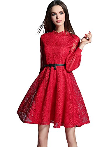 DOOXILADY Sleeves s Dress Red Women Lace Elegant Floral Bridesmaid Midi Long PrPYpx5