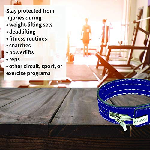 Flexz Fitness Lever Buckle Powerlifting Belt 10mm Weight Lifting Blue X Large by Flexz Fitness (Image #4)