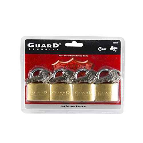 Guard Security 624X4 Solid Brass Padlock 1-1/2-Inch Standard Shackle Keyed Alike, 4-Pack