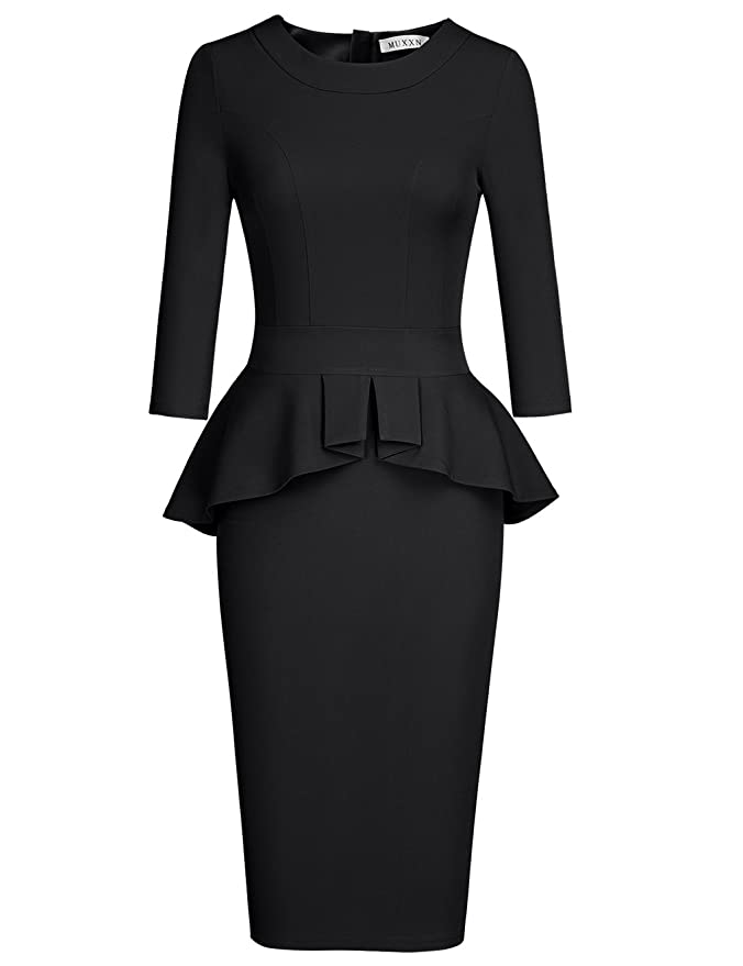 Rockabilly Dresses | Rockabilly Clothing | Viva Las Vegas MUXXN Womens Crew Neck Peplum Knee Length Party Pencil Dress $36.99 AT vintagedancer.com