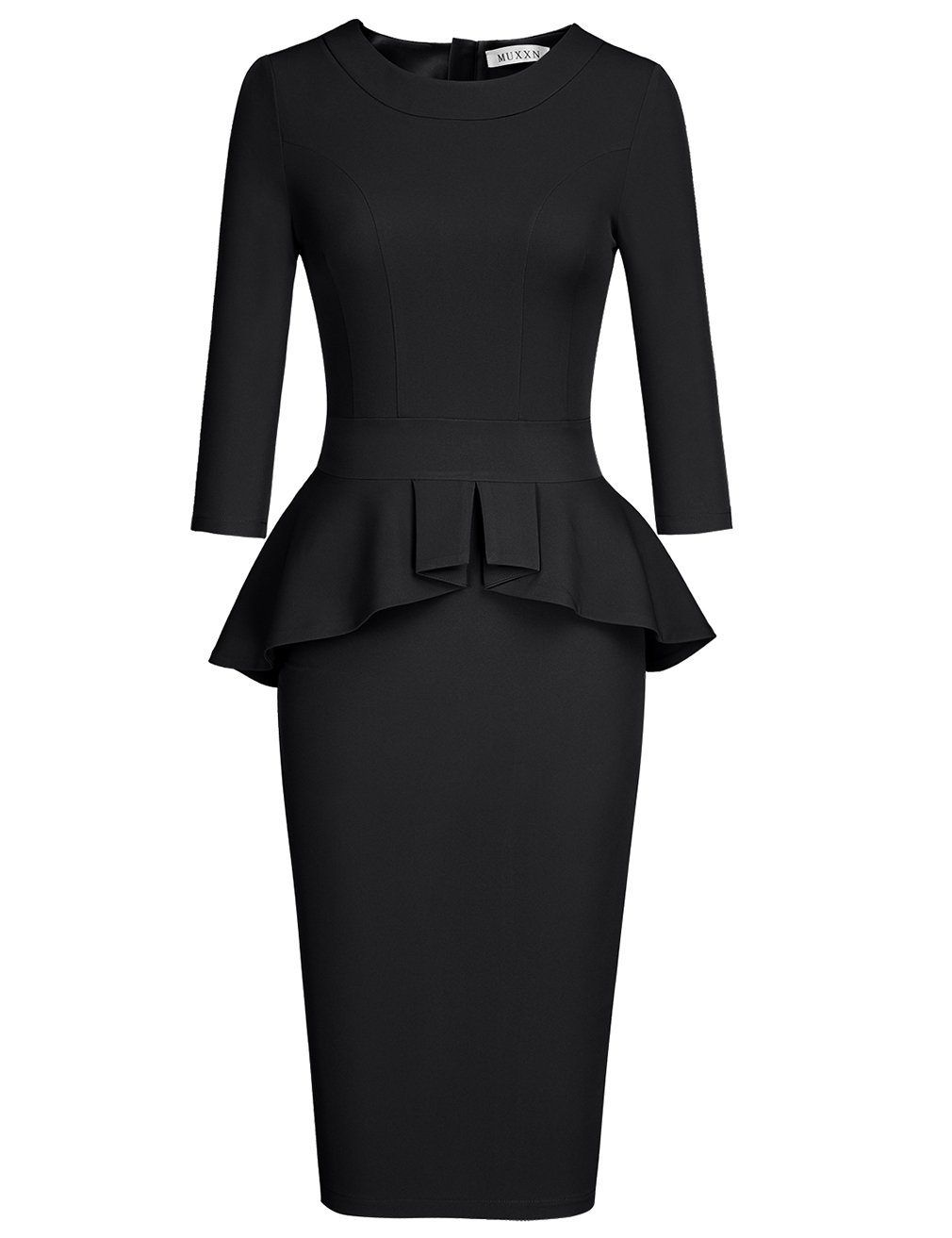 MUXXN Women's Plus Size Bodycon Flattering Cocktail Party Dress (Black XXL)