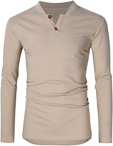 Henley - Camiseta de manga larga para hombre, otoño, invierno, para primavera, ligera, con cuello en V, con botones