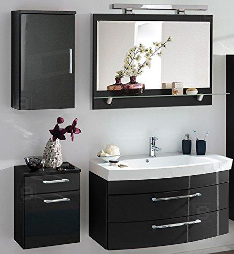 Komplett Badmbel Bad Set Hochglanz Anthrazit Spiegel Badezimmer