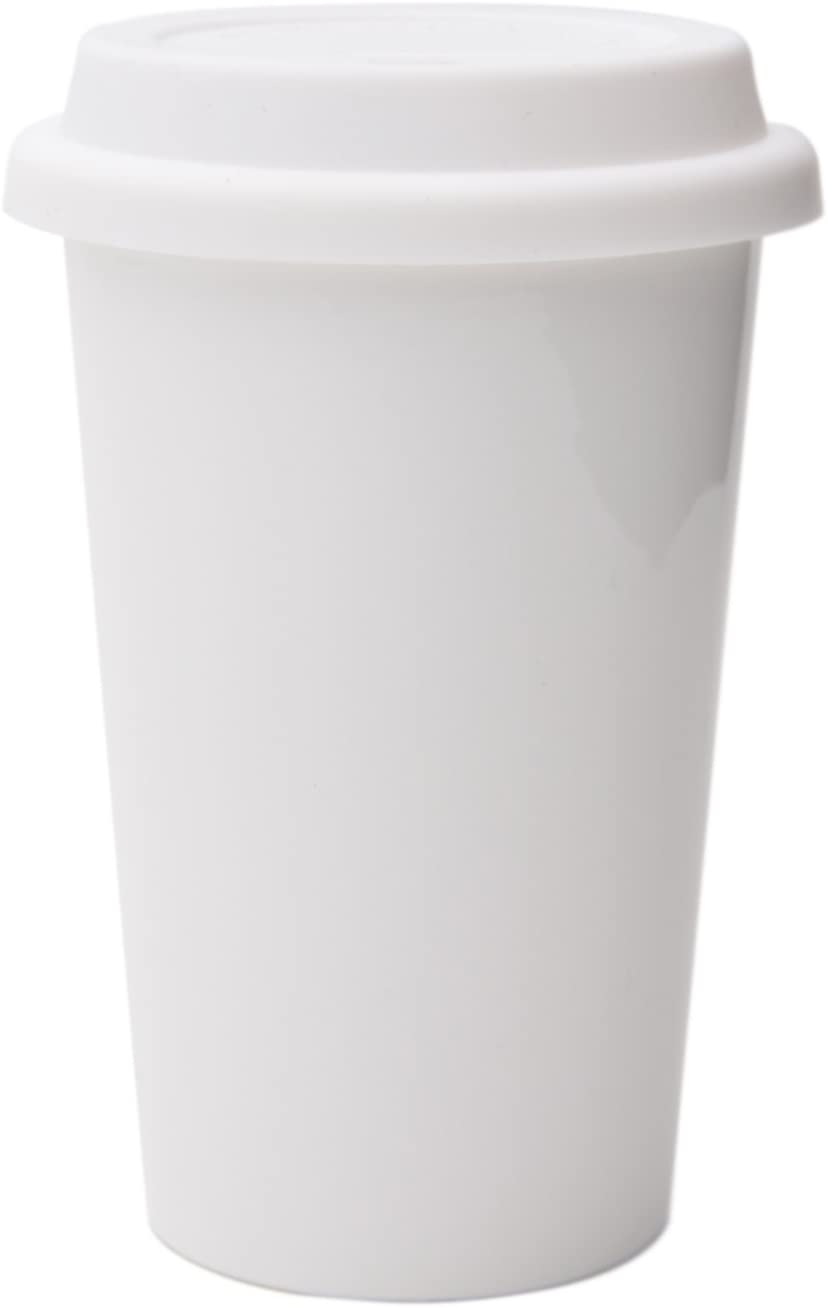 UDMG Reusable Double Wall Insulated White Ceramic Travel Coffee Cup with Lid & Sleeve, 12 fl.oz, I Am Not a Paper Cup