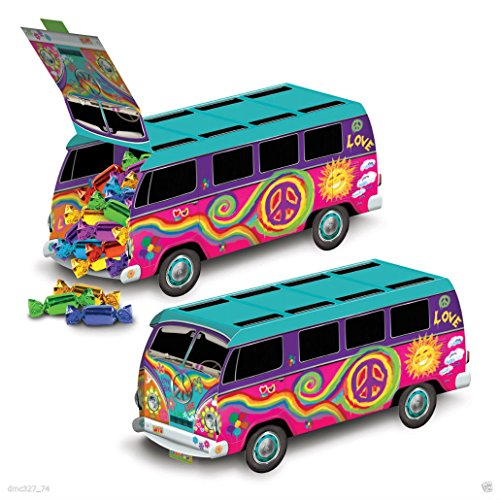 Unbranded 1 Groovy Retro 60s Party Decoration Hippie Tie Dye Love Peace Bus Centerpiece -