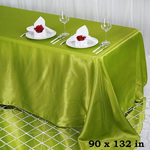 (Efavormart 90x132 Rectangle SAGE Green Wholesale Satin Tablecloth Banquet Linen Wedding Party Restaurant Tablecloth)
