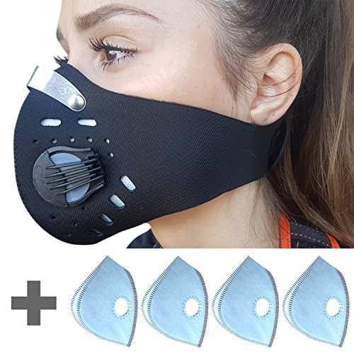 YOUTH Dust Mask with 2 Valves and 4 Filters. Designed for Kids and Teenagers (SMALL/BLACK)