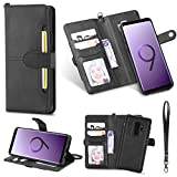 DAMONDY Galaxy S9+ Plus Case, Detachable 2 in 1 Cover Stand Wallet Purse Card Slot ID Holders Design Flip Cover Pocket Purse Leather Magnetic Protective for Samsung Galaxy S9 Plus 2018-black