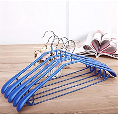 WWZY Plastic dip Non-slip Wide shoulder No trace Hanger Home Dry and wet use Clothing Drying Racks Shirt Blouse Multicolour Hangers (pack of 10) , blue , 45cm