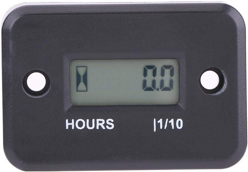 Black KIMISS Car Engine Timer Digital Hour Meter Gauge Timer for Gasoline Engine Racing Motorcycle ATV Mower