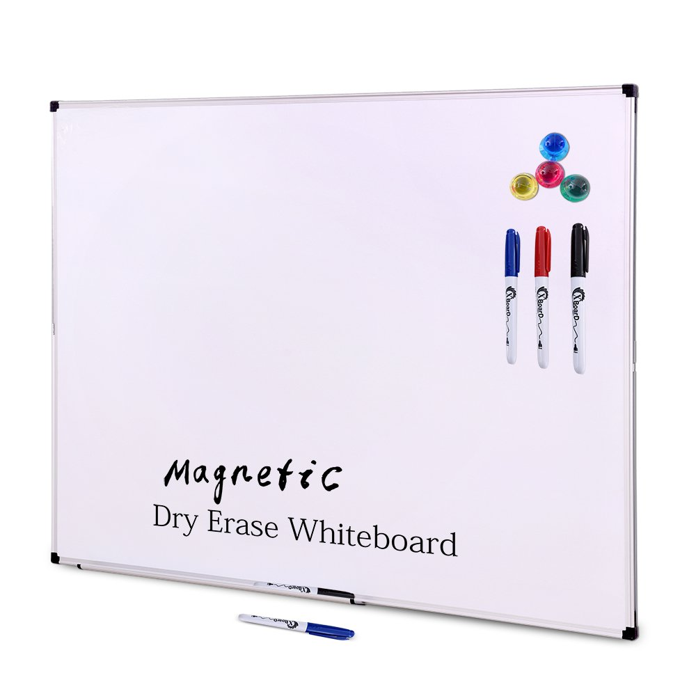 XBoard 48 x 36 Inch Large Magnetic Dry Erase Boards Set, Aluminum Frame Wall Mounted Whiteboard with 3 Dry Erase Markers & 4 Push Pin Magnets