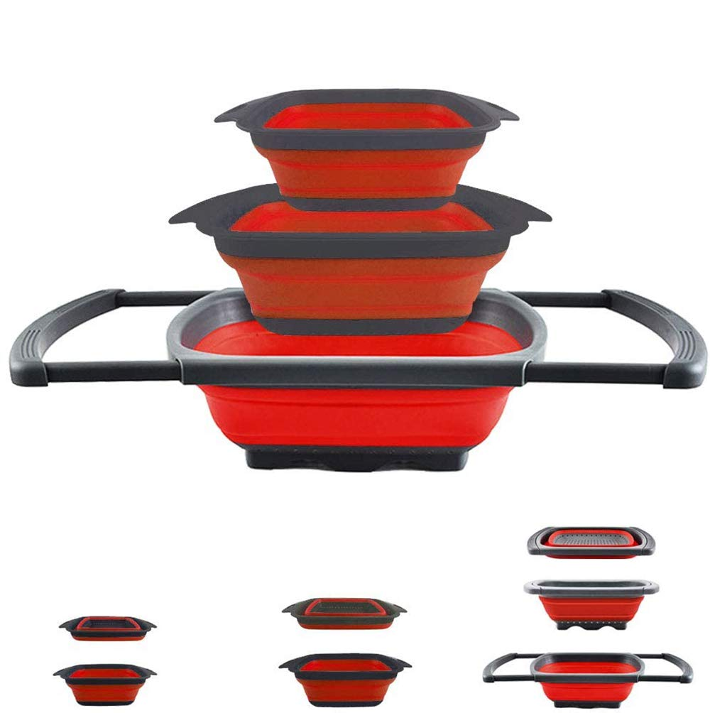 3 Pack Strainers and Colanders Collapsible Colander for Vegetables Fruits Pasta Draining