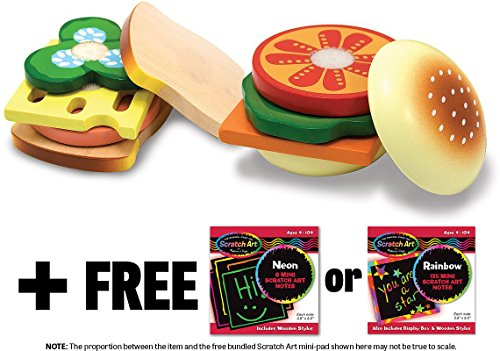 (Wooden Sandwich Making Play Food Set + FREE Melissa & Doug Scratch Art Mini-Pad Bundle [05135])