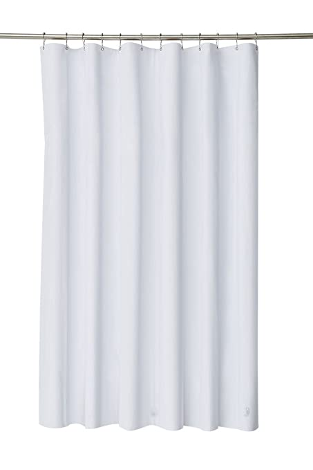 Pinzz Elegant Waterproof White Polyester Fabric Extra Long Shower Curtain Liner Size 180cm Wide X 200cm