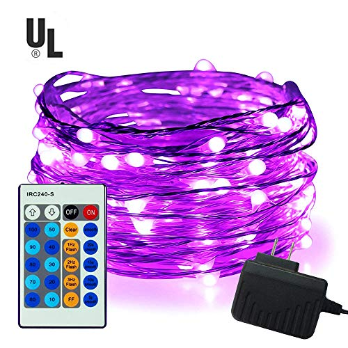 100 LED String Lights,Easest 33 feet Long Copper Wire Starry Lights Dimmable Fairy Lights with Remote Control for Bedroom,Halloween,Home,Party,Patio,Tree,Wedding,Light Decoration - Purple Halloween Lights