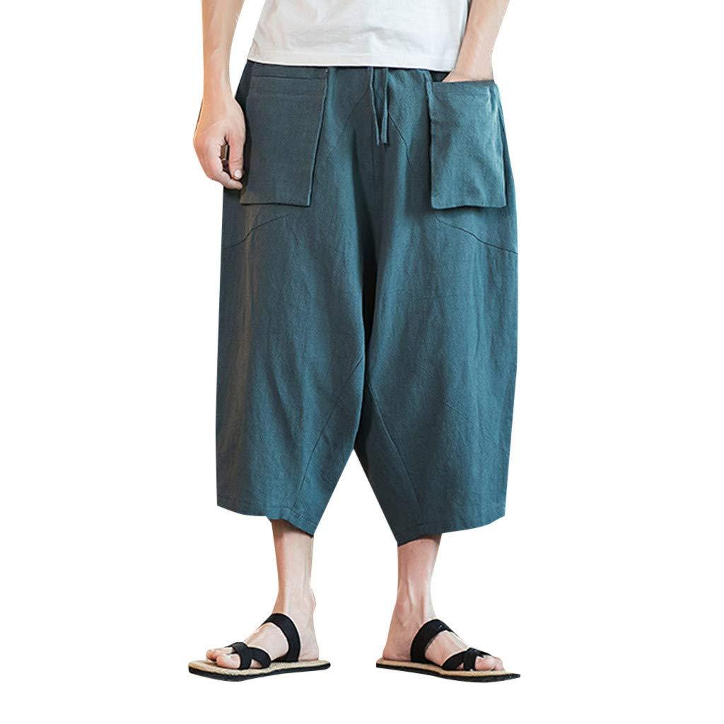 Sunyastor Mens Baggy Casual Trousers Cotton Linen Loose Harlan Pants Elastic Waist Wide Leg Pants Outdoor Summer Sportswear Green