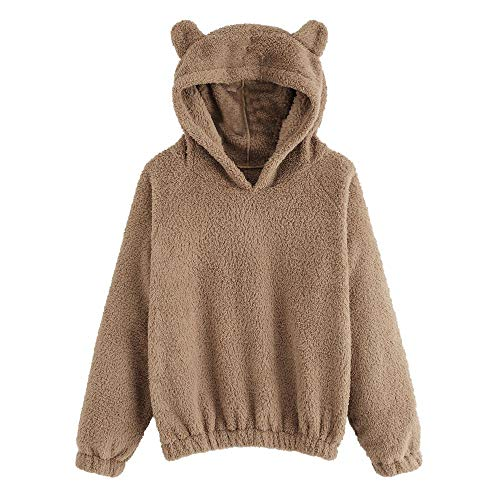 - Sunmoot Teddy Bear Hoodie Coat for Womens Long Sleeve Fleece Sweatshirt Warm Bear Shape Fuzzy Hoodie Sweater Pullover Brown