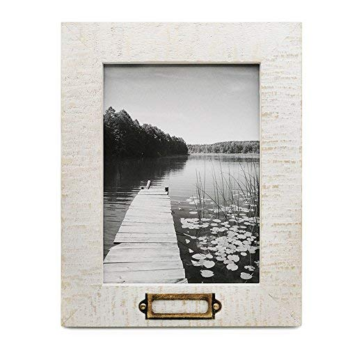 icheesday 5x7 inch Picture Frame Handmade of Solid Wood for Table Top Display and Wall Mounting Photo Frame with Metal Tag Plaque,White -