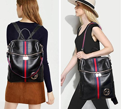 Blue Stripe Da Zaino Da Daypack Fashion Bag Pelle Viaggio Double Donna In Shoulder Casual Borsa New Borsa Vera Borse HCwxBUwpFq