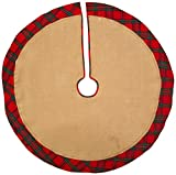 DII 100% Cotton Border, Christmas Holiday Burlap Tree Skirt, Red and Green Plaid