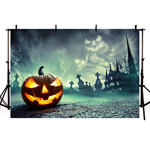 MEHOFOTO Halloween Themed Banner Photo Studio Booth Background Black Night Castle Horrible Pumpkin Backdrops for Photography 7x5ft for $<!--$14.99-->