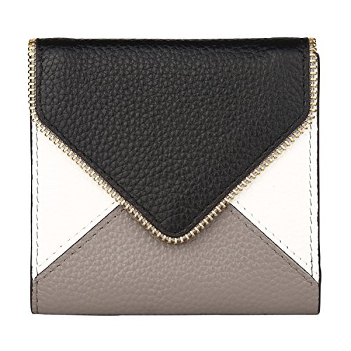 Dante Women's RFID Blocking Small Compact Bifold Leather Pocket Wallet Ladies Mini Purse with id Window(Envelope Black)