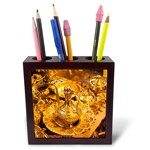 3dRose Danita Delimont - Decor - Central Iran, Shiraz, Bazar-E Vakil Market, Teapot - 5 inch Tile Pen Holder (ph_312738_1)