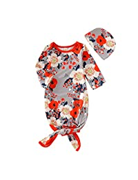 Newborn Infant Baby Gown Floral Sleeper Romper Swaddle & Cap Sleeping Bags